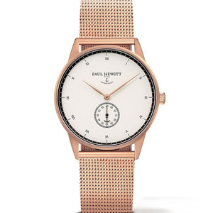 Paul Hewitt Signature Line Unisex White Dial And Rose Gold Bracelet Watch PH-M1-R-W-4M