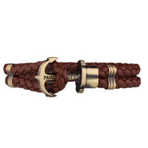 Paul Hewitt Phrep Unisex Brass Anchor and Brown Robust Leather Bracelet PH-PH-L-M-BR-XXL