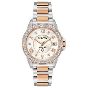 Bulova Ladies Marine Star 26 Diamonds Two-tone Watch 98R234