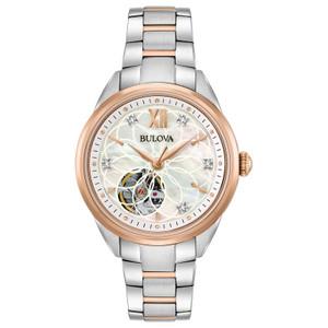 Bulova Ladies Automatic Diamond Set Two-tone Watch 98P170