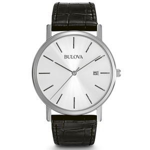 Bulova Men's Black Leather Dress Watch 96B104