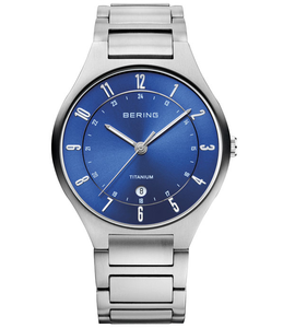 Bering Men's Titanium Date Display Blue Dial Watch 11739-707