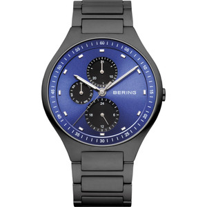Bering Men's Black Titanium and Blue Dial Watch 11741-727