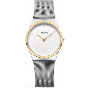 Bering Ladies Classic Mesh Gold Tone Bezel Watch 12130-014