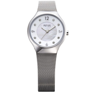Bering Ladies Solar Powered Swarovski Crystal Silver Tone Watch 14427-004