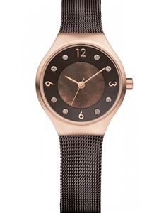 Bering Ladies Solar Powered Swarovski Crystal Brown Mesh Watch 14427-265