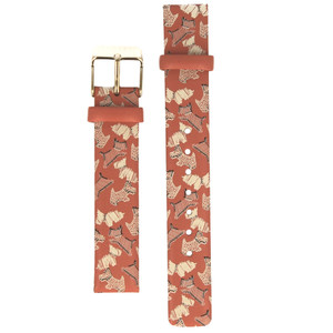 Radley Replacement Watch Strap Fleet Street Papaya Print Leather 15mm For RY2368 With Free Pins