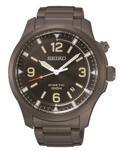 Seiko Kinetic Date Display Ion Plated Watch SKA707P9