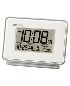 Seiko White Thermometer And Daily Alarm Desk Or Bedside Clock QHL068W