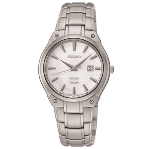 Seiko Ladies Solar Powered Date Display Stainless Steel Watch SUT139P1
