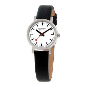 Mondaine Evo Ladies Black Leather Strap Quartz Watch A658.30301.11SBB