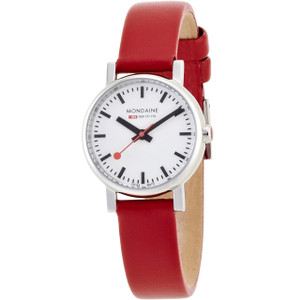 Mondaine Evo Petite Ladies Watch Red Leather Strap
