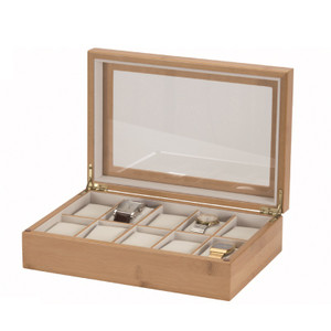 wooden watch storage boxes for men women watcho uk mele and co watch box for 10 watches bamboo finish white interior 450