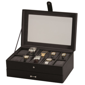Mele And Co Watch Box For 10 Watches with Removable Drawer Kian 1553
