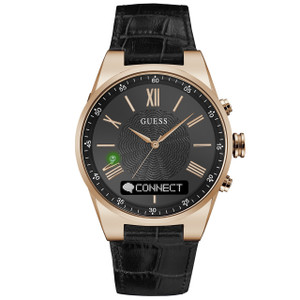 Guess Unisex Connect Bluetooth Hybrid Black Leather Strap Watch C0002MB3