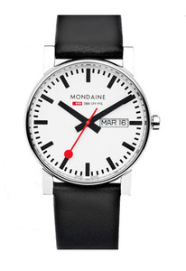 Mondaine Evo Gents Day Date Black Leather Strap 38mm Watch A667.30344.11SBB