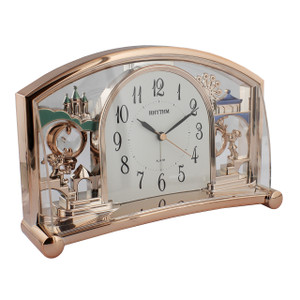 Rhythm Mantel Alarm Clock In Rose Gold Finish 4SE535WD13