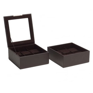 Wolf Stackable Watchbox With 2x6 Piece Trays In Brown 319606 With Blank Engraving Plaque