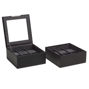 Wolf Stackable Watchbox With 2x6 Piece Trays In Black 319603 With Blank Engraving Plaque