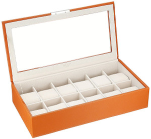 Wolf Stackable Watchbox For Up To 12 Watches In Orange 309839 With Blank Engraving Plaque