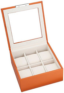 Wolf Stackable Watchbox For Up To 6 Watches In Orange 309639 With Blank Engraving Plaque