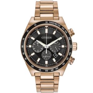Citizen Eco-Drive Men's Rose Gold Sport Chronograph Black Dial Watch CA4203-54E