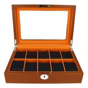 Orbit Men's Leather Watch Box Brown And Navy Blue Fits 10 Watches OW184