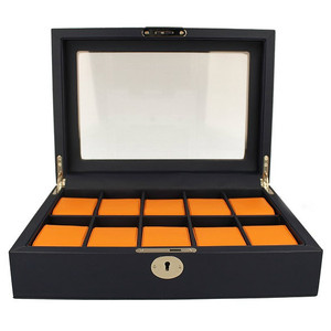 Orbit Men's Leather Watch Box Navy Blue And Orange Fits 10 Watches OW183