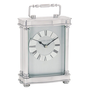 Silver Finish Carriage  Mantel Clock 3068