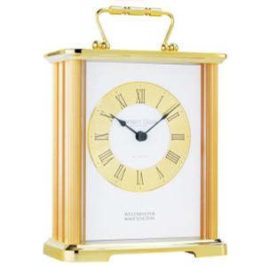 London Clock Gold Finish Metal cased carriage Designer clock 02062