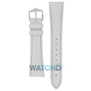 Hirsch Aristocrat Replacement Watch Strap White Alligator Embossed 14mm With Free Connecting Pins
