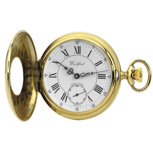 Woodford Gold Plated Half Hunter Swiss Pocket Watch 1010