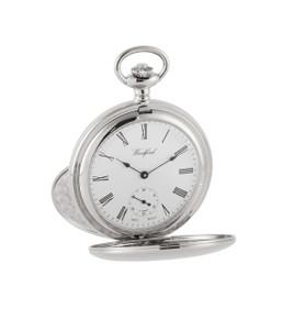 Woodford Chrome Plated Mechanical Twin Lid Skeleton Back Pocket Watch 1094