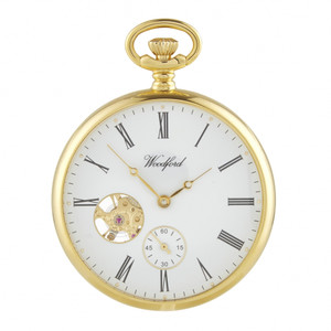 Woodford Gold Plated Open Faced Mechanical Swiss Pocket Watch 1105