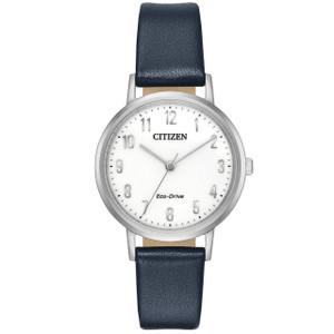 Citizen Eco-Drive Ladies Blue Leather Strap Watch EM0570-01A