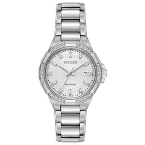 Citizen Eco-Drive Ladies Diamond Silver Watch EW2460-56A