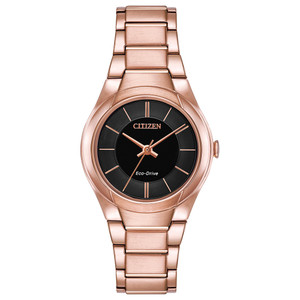 Citizen Eco-Drive Ladies Rose-Gold With Black Dial FE2093-54E