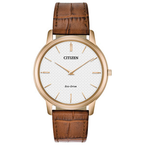 Citizen Eco-Drive Stiletto Ultra-Thin Men's Leather Strap Watch AR1133-15A