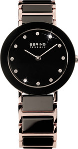 Bering Black Rose Gold Ceramic Ladies Watch 11429-746