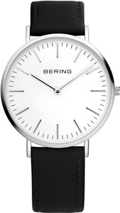 Bering White Dial Black Leather Mens Watch 13738-404