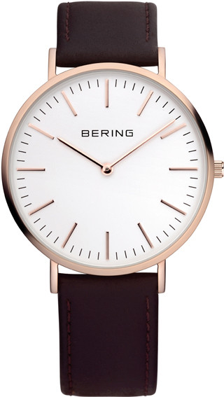 Bering Rose Gold Black Leather Mens Watch 13738-564