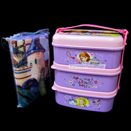 Disney-Sofia-the-First-Plastic-Lunch-Box-Bento-3-Tiers-with-Picnic-Folding-Mat