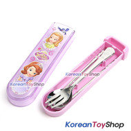 Disney-Princess-Sofia-the-First-Stainless-Steel-Spoon-Fork-Chopsticks-Slide-Case