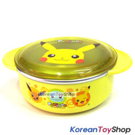 Pokemon Pikachu Stainless Steel Bowl 350ml BPA Free w/ Lid Handle Non Slip Pads