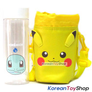 Pokemon Squirtle Clear Simple Bottle 500ml & Pikachu Cover Bag w/ Shoulder Strip