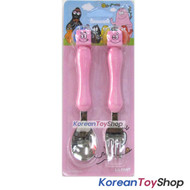 Barbapapa Mascot Stainless Steel Spoon Fork Set BPA Free PINK
