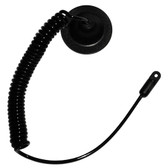 TU-DM-BLK - Coiled Urethane Tether w/Adhesive Disk Mount