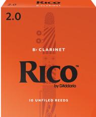 D'Addario Rico Bb Clarinet Reeds, Strength 2.0, 10-pack