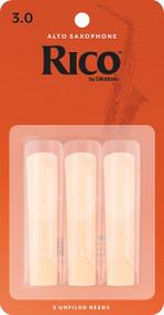 D'Addario Rico Alto Saxophone Reeds, Strength 3.0, 3-pack