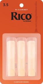 D'Addario Rico Bb Clarinet Reeds, Strength 3.5, 3-pack